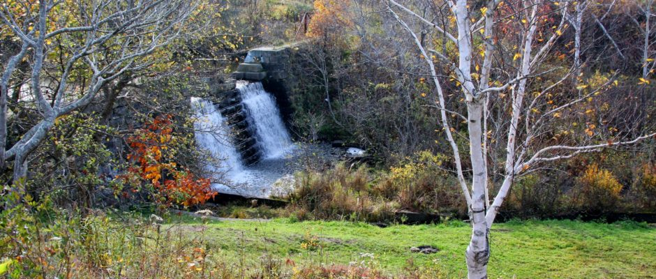 Rotary Park – GreenLink Trails, Sydney, NS – Former Resevoir Dam and Waterfall.
